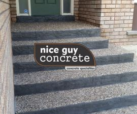 exposed aggregate steps with stamped concrete